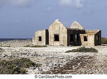 casa, spiaggia, rovine