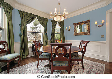 casa, stanza, lusso, cenando