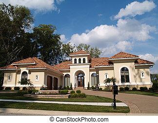 casa, storia, uno, stucco, residenziale