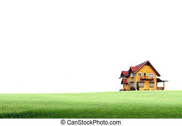 casa, su, campo verde, paesaggio