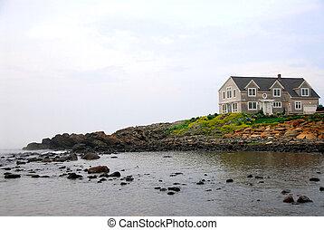 casa, su, oceano, riva