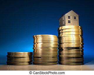 casa, su, soldi