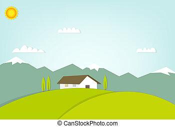casa, su, uno, collina, sullo sfondo, di, montagne