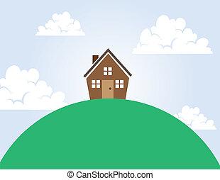casa, su, uno, collina