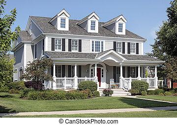 casa suburbana, con, portico anteriore