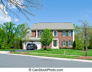 casa, suburbano, fronte, famiglia sola, md, mattone