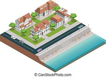 casa, suburbano, isometric, composição