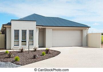 casa, suburbano, moderno