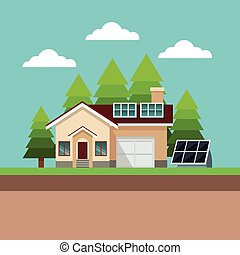casa, suburbano, solar, paisagem, painel