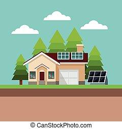 casa, suburbano, solare, paesaggio, pannello