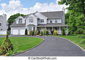 casa, suburbano, strada privata