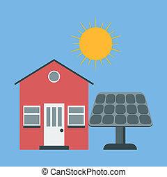 casa, sun., solar, panel., ícone