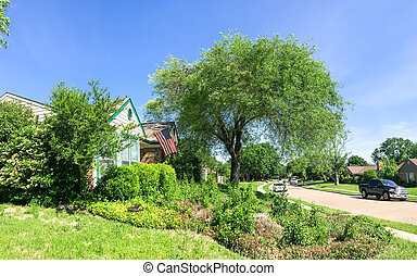 casa, típico, panorámico, acera, residencial, vista, ...