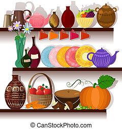 casa, tableware, mensole