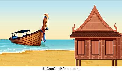 casa, tailandés, playa, luego