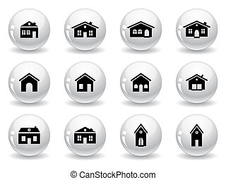 casa, tela, edificios, iconos, botones