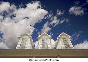 casa, telhado, e, janelas