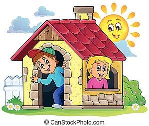 casa, tema, crianças, 3, pequeno, tocando