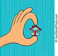 casa, tenencia, diminuto, mano