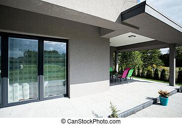 casa, terraço, novo, área