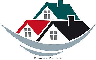 casa, tetti, simbolo