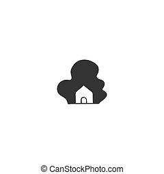 casa, theme., mano, forest., vettore, icona, disegnato, proprietà, noleggio