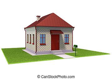 casa, tijolo, capim, campo