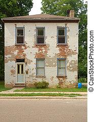 casa, tijolo, dois andares