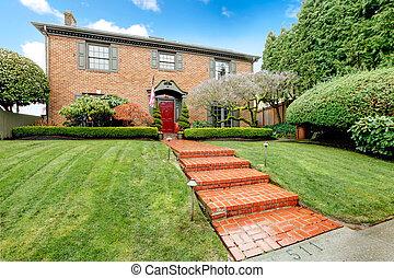 casa, tijolo, entrada, clássicas