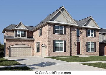 casa, tijolo, pretas, venezianas