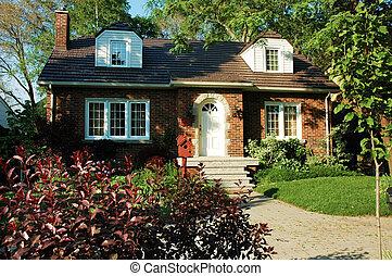 casa, tijolo, vermelho