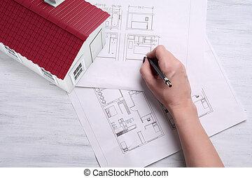 casa, tools., plano, 3d
