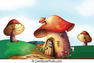 casa, topo, colina, cogumelo
