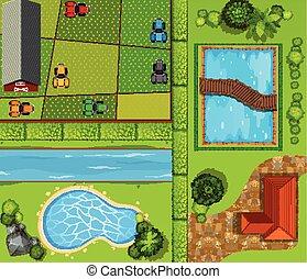 casa, topo, terra cultivada, privado, vista