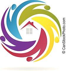 casa, trabalho equipe, agentes, negócio, logotipo
