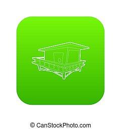 casa, trampolo, verde, icona