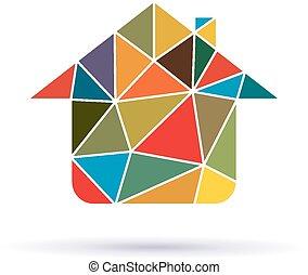 casa, triângulos, ícone