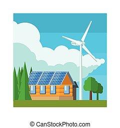 casa, turbina, viento