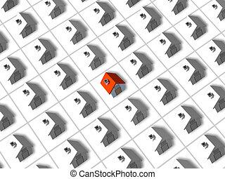 casa, uno, rodeado, techó, 3d, rojo, muchos