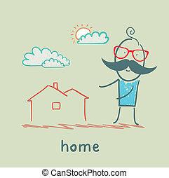 casa, uomo, mostra