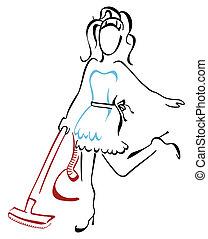 casa, vacuuming mulher