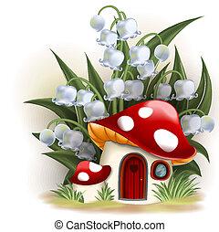 casa, vale, lírio, cogumelo