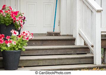 casa, vasi fiore, swedesh, ponte