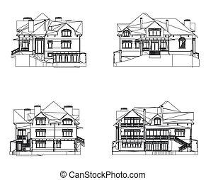 casa, vector, conjunto, ilustración, facade.