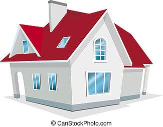 casa, vector, ilustración