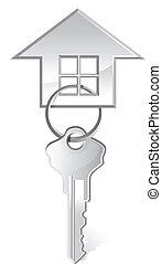casa, vector, ilustración, llave