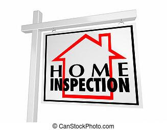 casa, venda, ilustração, sinal, lar, inspeção, 3d