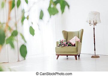 casa, vendemmia, verde, interno, stanza, sedia, resto