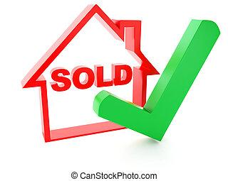 casa, vendido, marca, plano de fondo, blanco, cheque