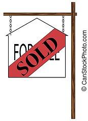 casa, vendido, sinal dependurado